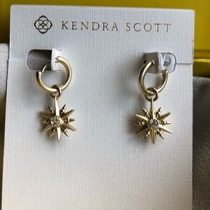 NWT Kendra Scott Starburst Charm Hoop Earrings